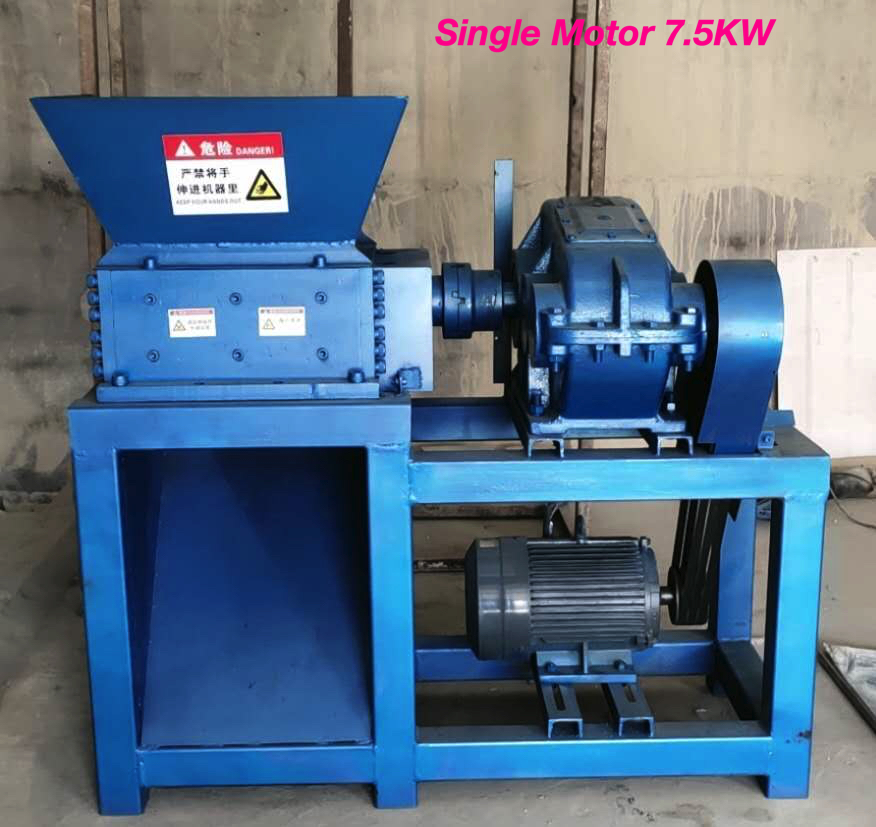 2 Shaft Mini Paint Tin Crushing Machine ( Single 7.5KW Motor )